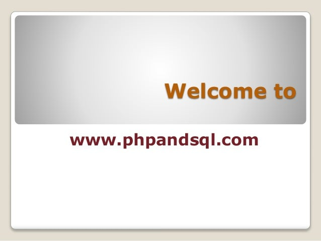 Welcome to www.phpandsql.com