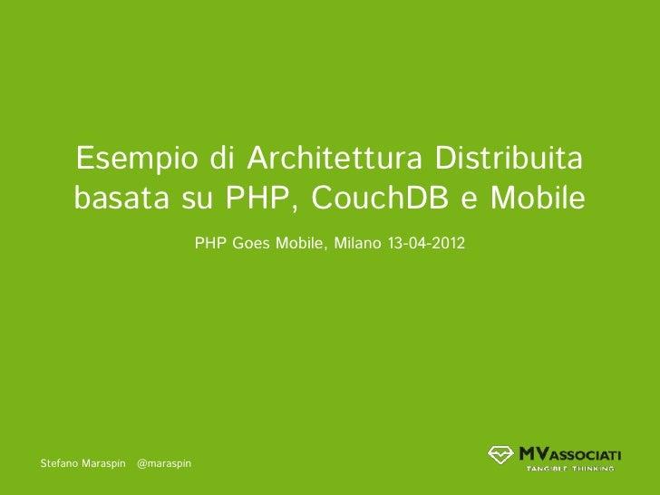 Esempio di Architettura Distribuita      basata su PHP, CouchDB e Mobile                               PHP Goes Mobile, Mi...