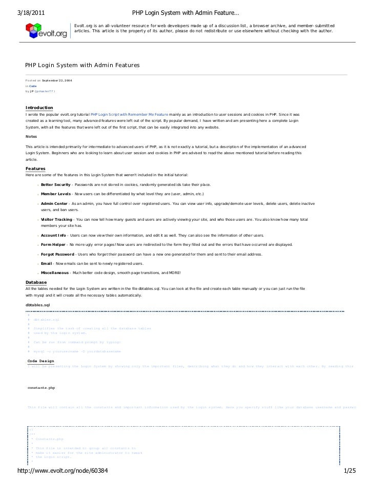 3/18/2011                                                         PHP Login System with Admin Feature…                    ...