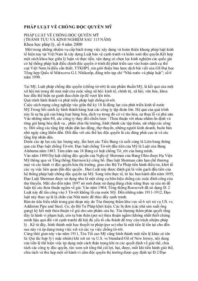 PHÁP LUẬT VỀ CHỐNG ĐỘC QUYỀN MỸPHÁP LUẬT VỀ CHỐNG ĐỘC QUYỀN MỸ(THÀNH TỰU VÀ KINH NGHIỆM SAU 115 NĂM)Khoa học pháp lý, số 4...