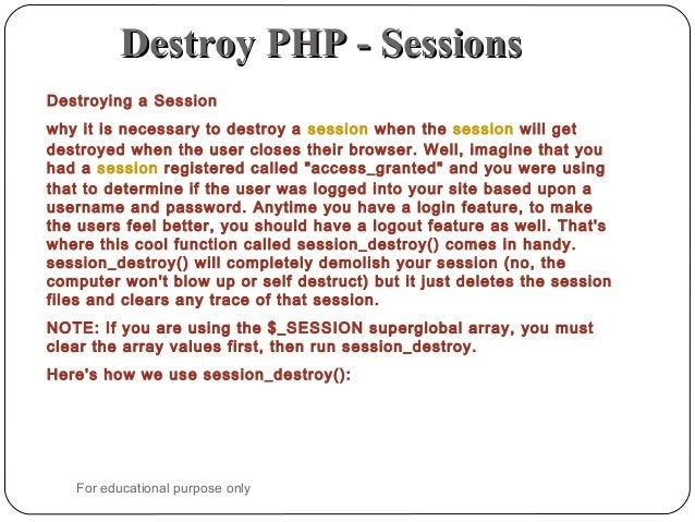 php session destroy