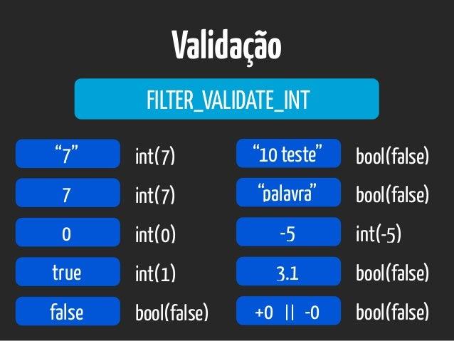 "Validação FILTER_VALIDATE_INT ""7"" 7 0 true false int(7) int(7) int(0) int(1) bool(false) ""10 teste"" ""palavra"" -5 3.1 bool(..."
