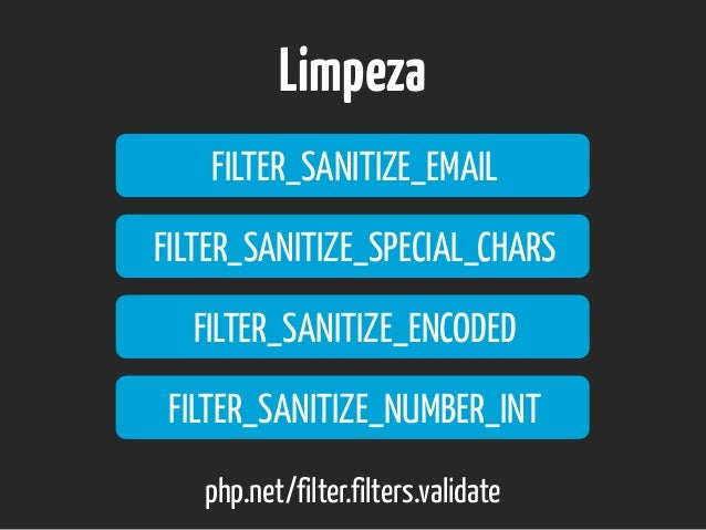 Limpeza FILTER_SANITIZE_EMAIL php.net/filter.filters.validate FILTER_SANITIZE_SPECIAL_CHARS FILTER_SANITIZE_ENCODED FILTER...