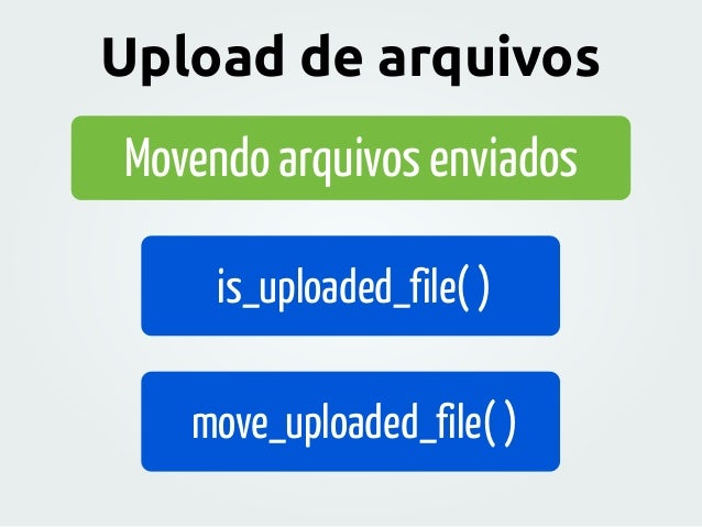 Movendo arquivos enviados is_uploaded_file( ) move_uploaded_file( ) Upload de arquivos
