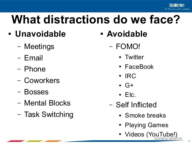 BUSINESS SENSITIVE4What distractions do we face?● Unavoidable– Meetings– Email– Phone– Coworkers– Bosses– Mental Blocks– T...