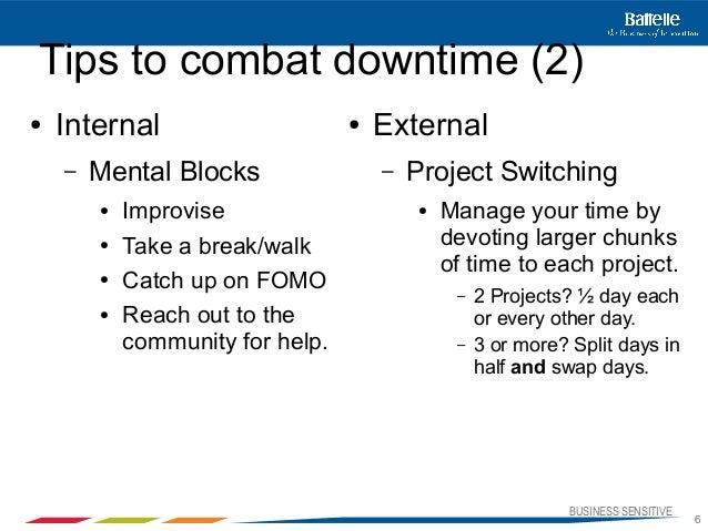BUSINESS SENSITIVE6Tips to combat downtime (2)● Internal– Mental Blocks● Improvise● Take a break/walk● Catch up on FOMO● R...
