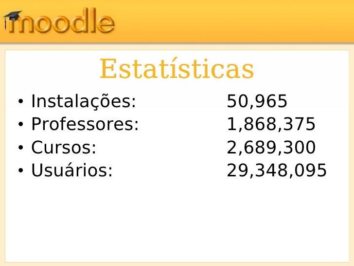 Estatísticas <ul><li>Instalações: 50,965 </li></ul><ul><li>Professores: 1,868,375 </li></ul><ul><li>Cursos: 2,689,300 </li...
