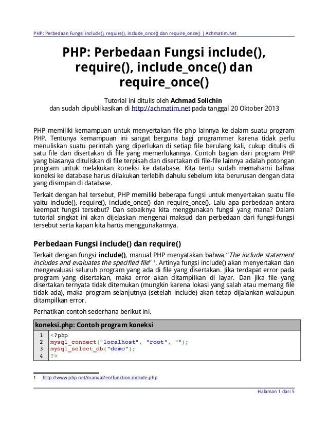 PHP: Perbedaan Fungsi include(), require(), include_once() dan require_once() | Achmatim.Net  PHP: Perbedaan Fungsi includ...