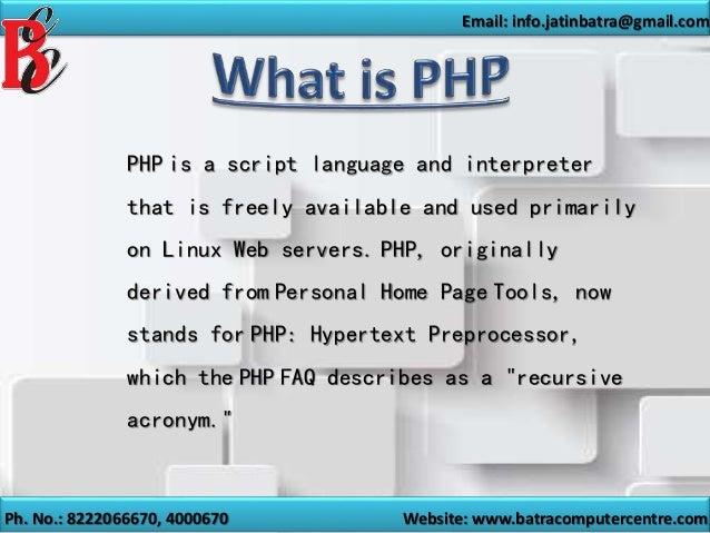 php training in ambala   batra computer centre