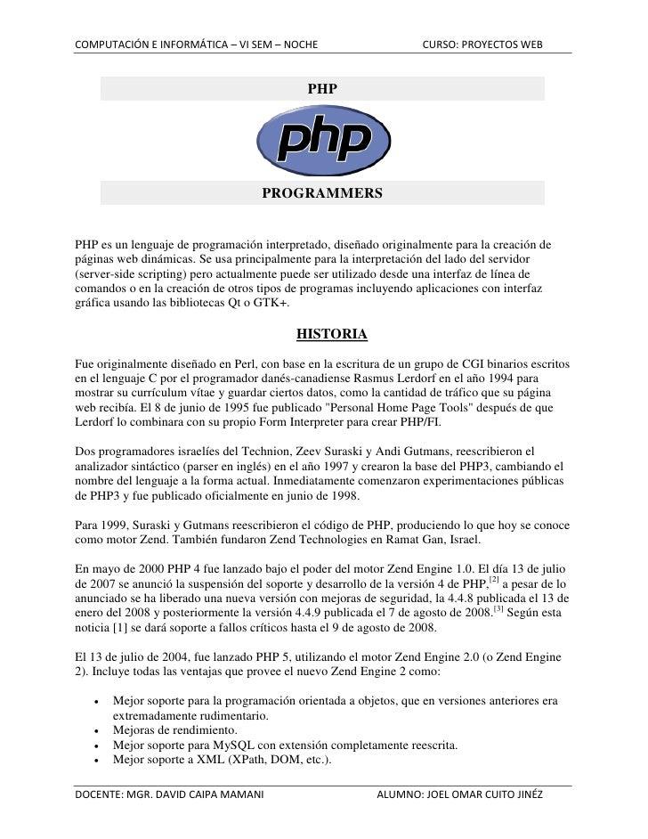COMPUTACIÓN E INFORMÁTICA – VI SEM – NOCHE                          CURSO: PROYECTOS WEB                                  ...