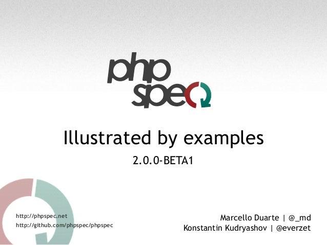 Illustrated by examples 2.0.0-BETA1 http://phpspec.net http://github.com/phpspec/phpspec Marcello Duarte | @_md Konstantin...