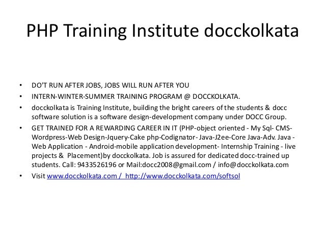 php training institute docckolkata - Php Mysql Jobs