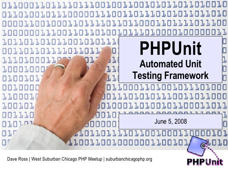 Dave Ross | West Suburban Chicago PHP Meetup | suburbanchicagophp.org PHPUnit Automated Unit Testing Framework June 5, 2008