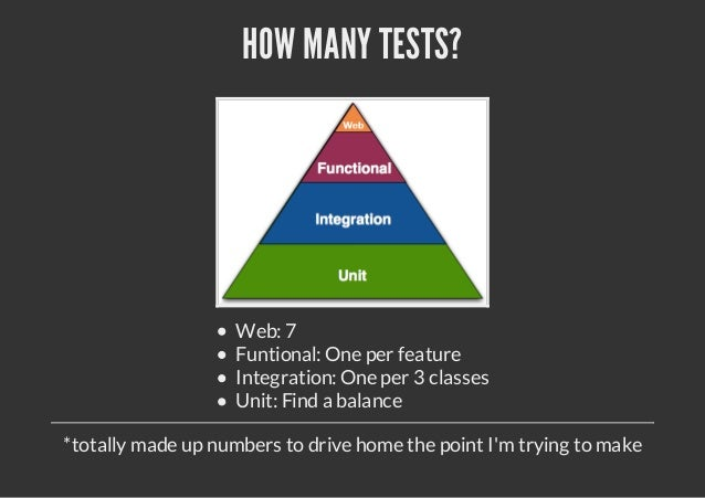HOW MANY TESTS?                   Web: 7                   Funtional: One per feature                   Integration: One p...