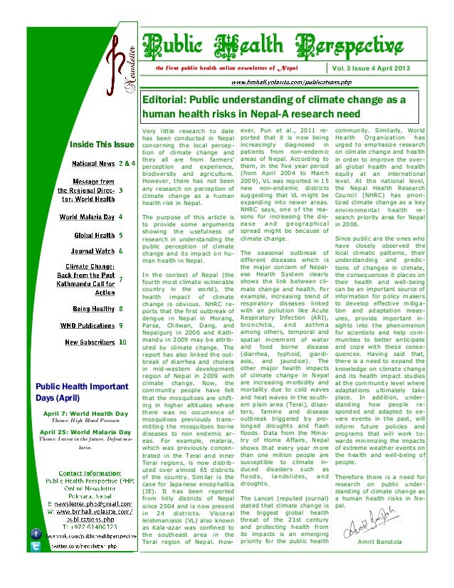 Editorial: Public understanding of climate change as ahuman health risks in Nepal-A research needVol. 3 Issue 4 April 2013...