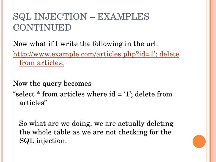 Php web security phpxperts 2009 - Sql injection drop table example ...