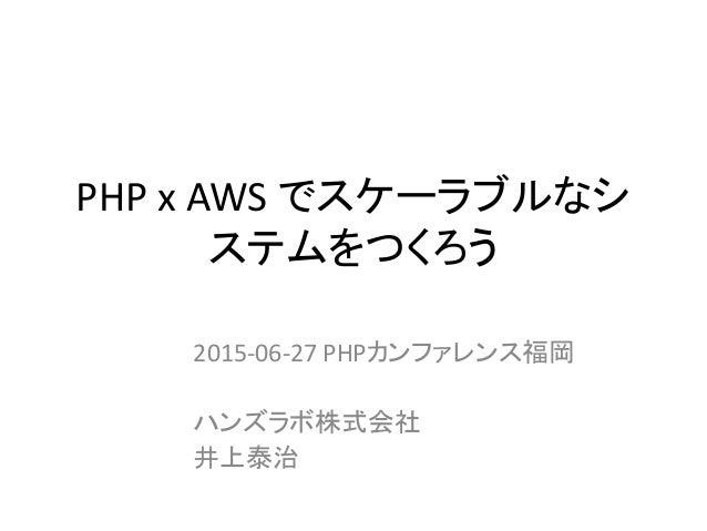 PHP x AWS でスケーラブルなシ ステムをつくろう 2015-06-27 PHPカンファレンス福岡 ハンズラボ株式会社 井上泰治