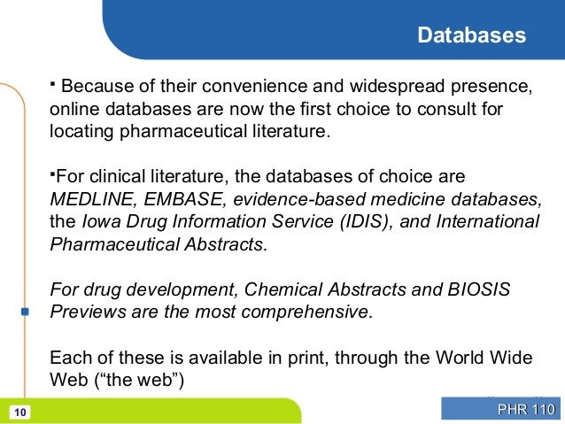 Information Resources in Pharmacy
