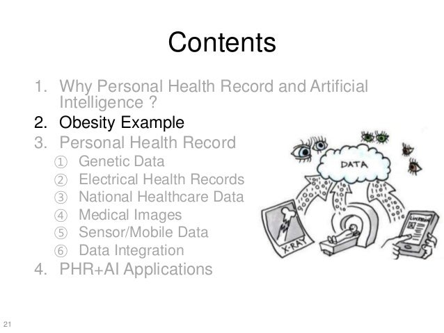 Contents 1. Why Personal Health Record and Artificial Intelligence ? 2. Obesity Example 3. Personal Health Record ① Geneti...