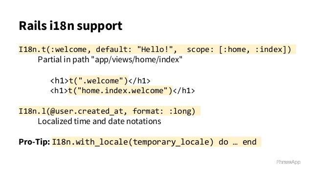 Ruby on Rails Internationalization Best Practices, i18n SFRAILS