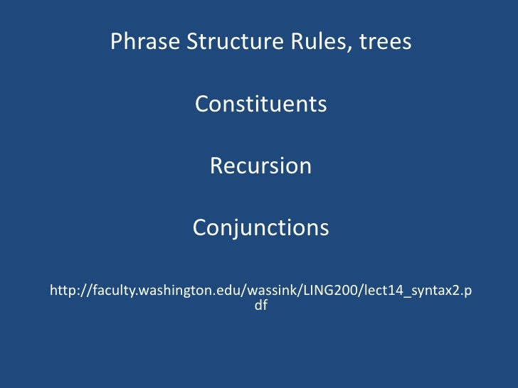 PhraseStructure Rules, trees<br />Constituents<br />Recursion<br />Conjunctions<br />http://faculty.washington.edu/wassink...