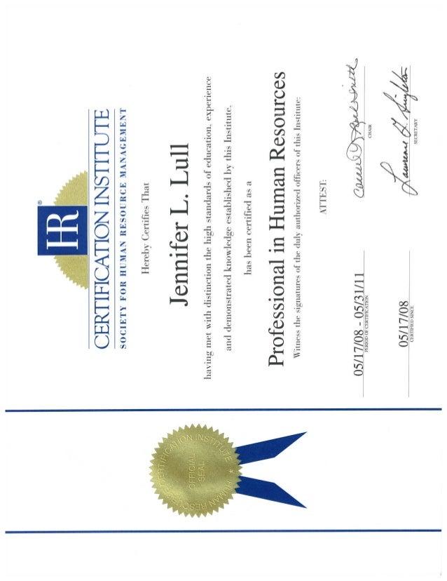 Phr Certificate