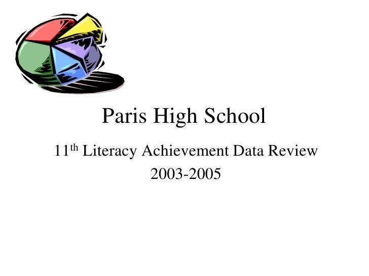 Paris High School<br />11th Literacy Achievement Data Review<br />2003-2005<br />