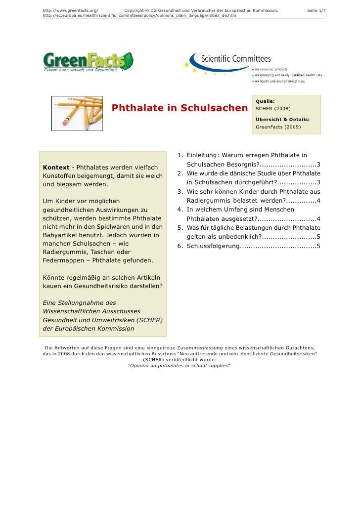 Phthalate in Schulsachen