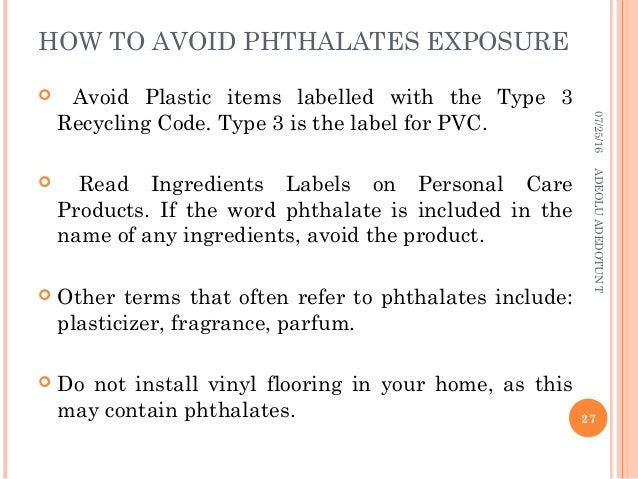 PHTHALATES IN COSMETICS: RISK ON THE HEALTH AND ENVIRONMENT