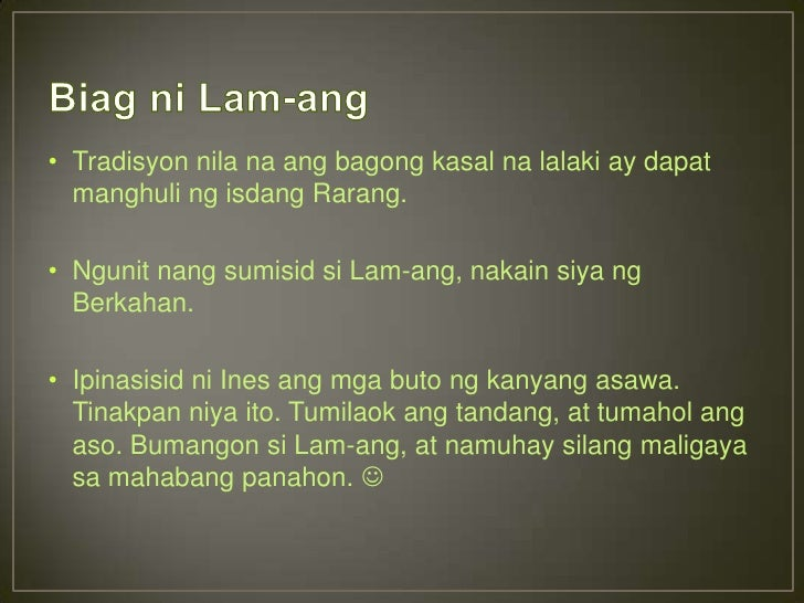 What is the resolution of the story biag ni lam-ang?