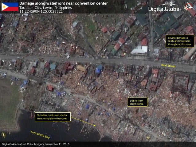 Damage along waterfront near convention center Tacloban City, Leyte, Philippines 11.224590N 125.002882E  Severe damage to ...