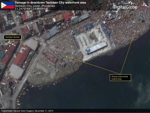 Damage in downtown Tacloban City waterfront area Tacloban City, Leyte, Philippines 11.247076N 124.998992E  Tacloban Market...