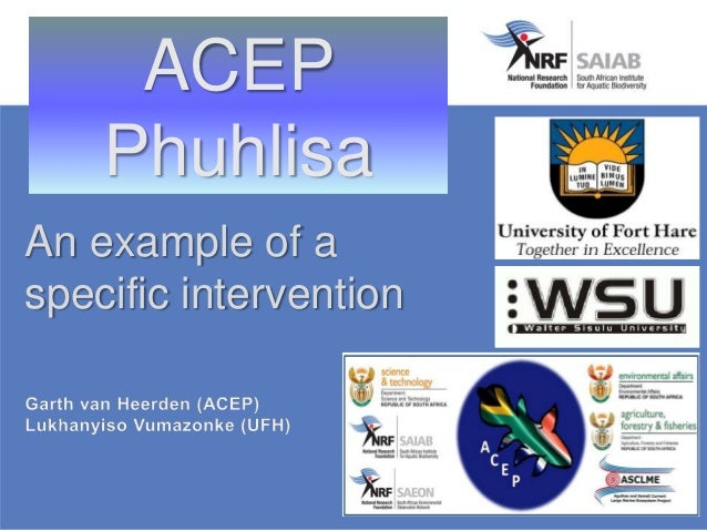 ACEP Phuhlisa An example of a specific intervention