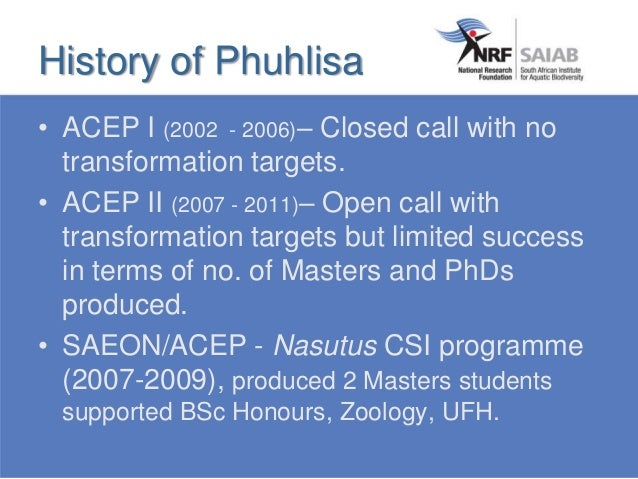 • ACEP I (2002 - 2006)– Closed call with no transformation targets. • ACEP II (2007 - 2011)– Open call with transformation...