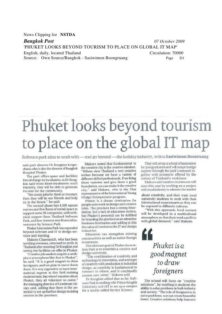 News Clipping for NSTDA Bangkok Post                                          07 October 2009 'PHUKET LOOKS BEYOND TOURISM...
