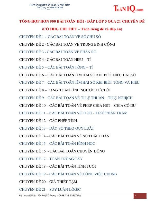Hệ thống phát triển Toán IQ Việt Nam Cô Trang – 0948.228.325 -------------***---------------- Đặt mua tài liệu Liên hệ| Cô...