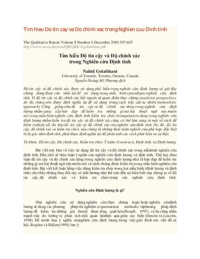 Tim hieu Do tin cay va Do chinh xac trong Nghien cuu Dinh tinh The Qualitative Report Volume 8 Number 4 December 2003 597-...