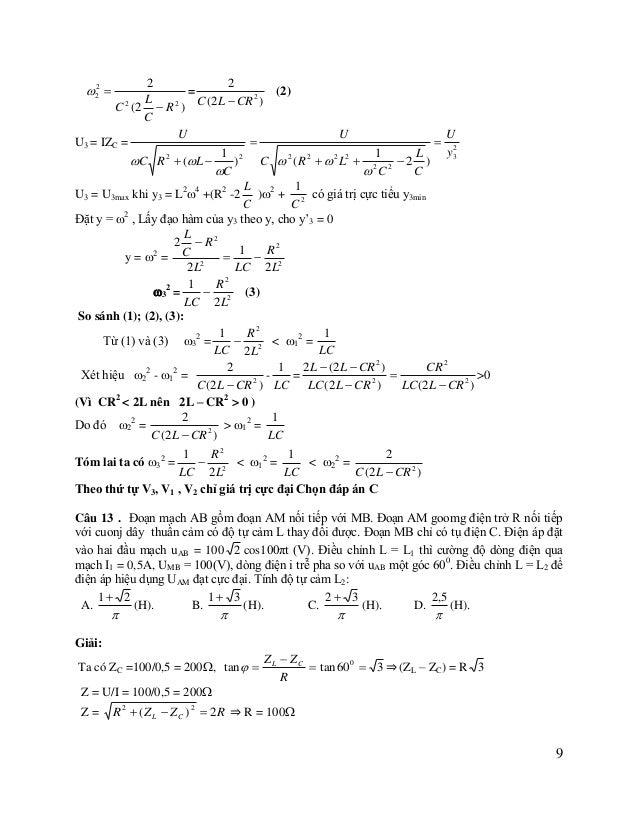 UAM = I.ZAM =  2 U R2  ZL  R  (Z L  Z C ) 2  2    U R  Z  Z  2Z L Z C 1 R2  ZL 2  2 L  2 C  U   1  400(100  Z L...
