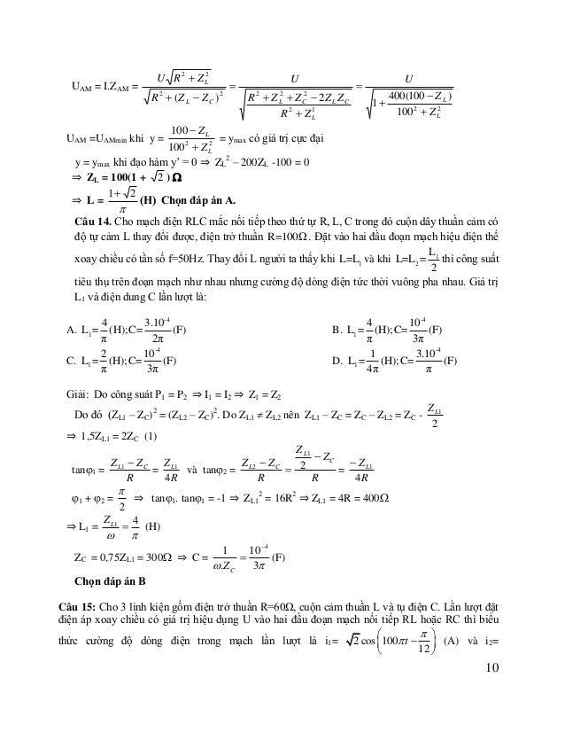 7   2 cos 100 t   (A). nếu đặt điện áp trên vào hai đầu đoạn mạch RLC nối tiếp thì dòng điện 12   trong mạch có b...