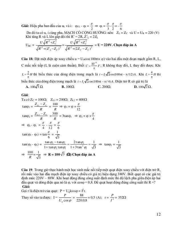Zquạt =  Uq I  2 = r 2  Z L = 440  Khi mác vào U = 380V: I =  U U = = 2 Z (R  r) 2  Z L  U 2 R  2 Rr  r 2  Z L 2  U...