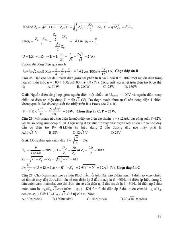 Giải: UL = IZL =  UL  1 2 ) C 1 2 R 2  (L  ) C = y UL =ULmax khi y = min 2 R 2  (L     ⇒  1    2 0  2  =  C L (...
