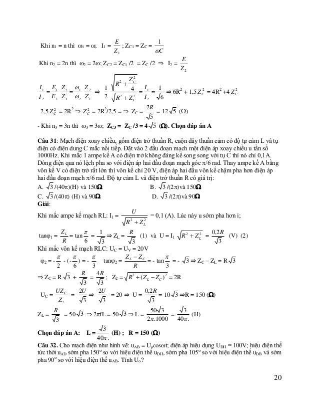 A. Uo = 136,6V. B. Uo = 139,3V. C. Uo  100 2V .  D. Uo = 193,2V.  A  Giải:  D  H  B  D  Vẽ giãn đồ như hình vê. Đặt liên ...