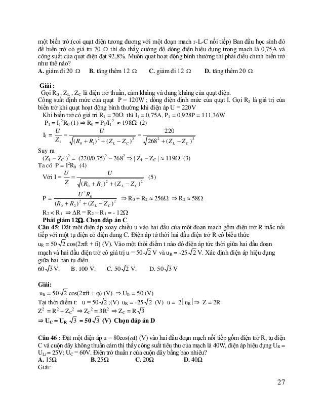 Ta có Ur2 + UL2 = ULr2 ULr (UR + Ur)2 + (UL – UC)2 = U2 Với U = 40 2 (V) Ur2 + UL2 = 252 (*)  Ur (25+ Ur)2 + (UL – 60)2 =...
