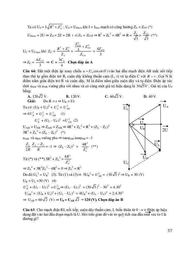 U R  A. Nửa đường tròn đường kính  B. Đoạn thẳng I = kU, k là hệ số tỉ lệ.  U  C. Một nửa hiperbol  D. Nửa elip  2 R2  ZL...