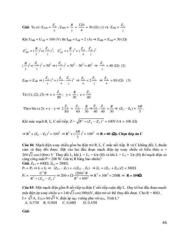 UL  UL  UC Ta có U = 240 (V); UR = IR = 80 3 (V) U E Vẽ giãn đồ véc tơ như hình vẽ: UR = ULC = 80 V. Xét tam giác cân OME ...
