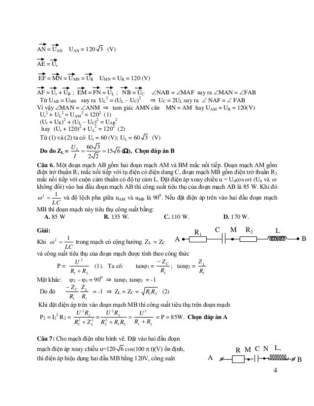 tiêu thụ toàn mạch bằng 360W; độ lệch pha giữa uAN và uMB là 900, uAN và uAB là 600 . Tìm R và r A. R=120  ; r=60  B. R=...