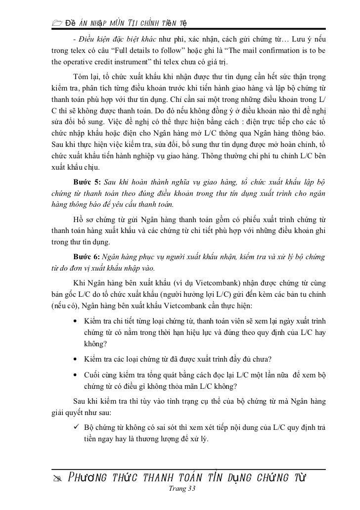  Đề án nhập môn Tài chính tiền tệ       - Điều kiện đặc biệt khác như phí, xác nhận, cách gửi chứng từ… Lưu ý nếutrong te...