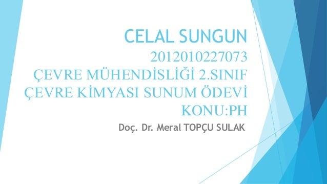 CELAL SUNGUN  2012010227073  ÇEVRE MÜHENDİSLİĞİ 2.SINIF  ÇEVRE KİMYASI SUNUM ÖDEVİ  KONU:PH  Doç. Dr. Meral TOPÇU SULAK
