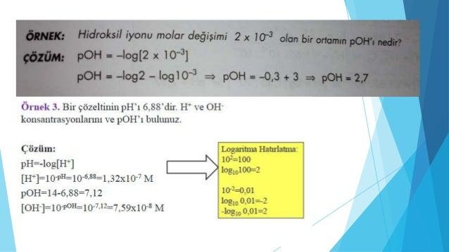  ÖRNEK: 0.01 M C6H5N(piridin) çözeltisinin pOH'ı nedir?  (kb=1,6.10-9)
