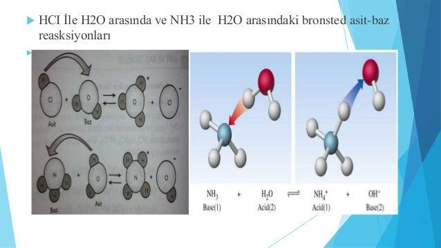  HCI İle H2O arasında ve NH3 ile H2O arasındaki bronsted asit-baz  reasksiyonları  